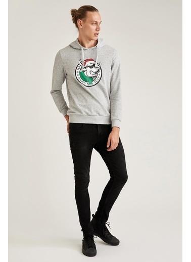DeFacto Slim Fit Uzun Kollu İçi Yumuşak Tüylü Sweatshirt Gri